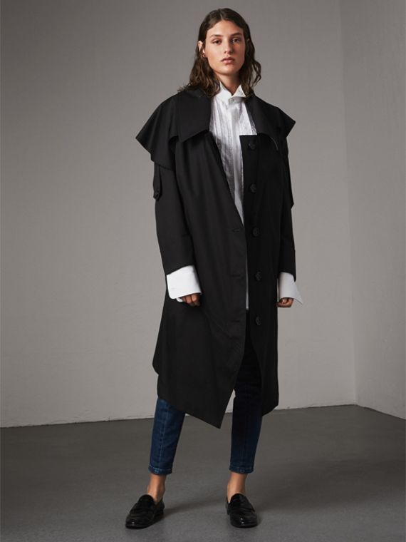 Cotton Asymmetric Trench Coat in Black
