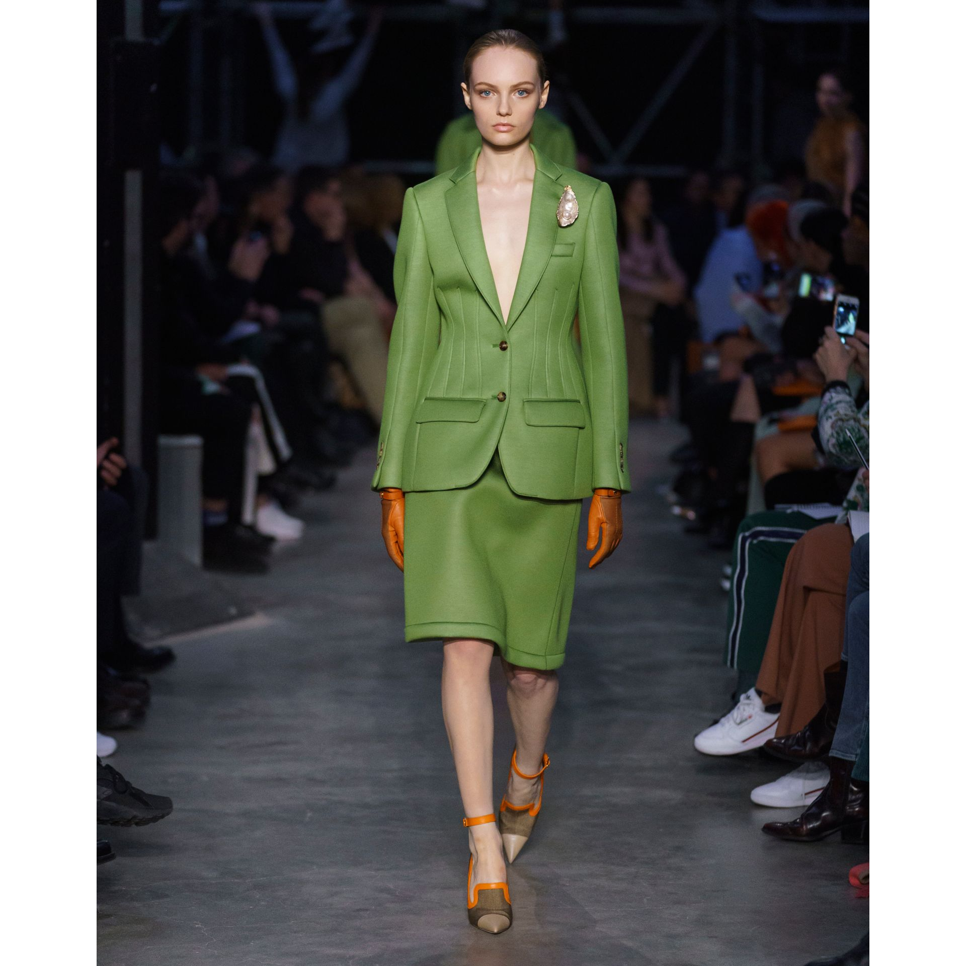 Double-faced Neoprene Skirt in Cedar Green - Women | Burberry - gallery image 6
