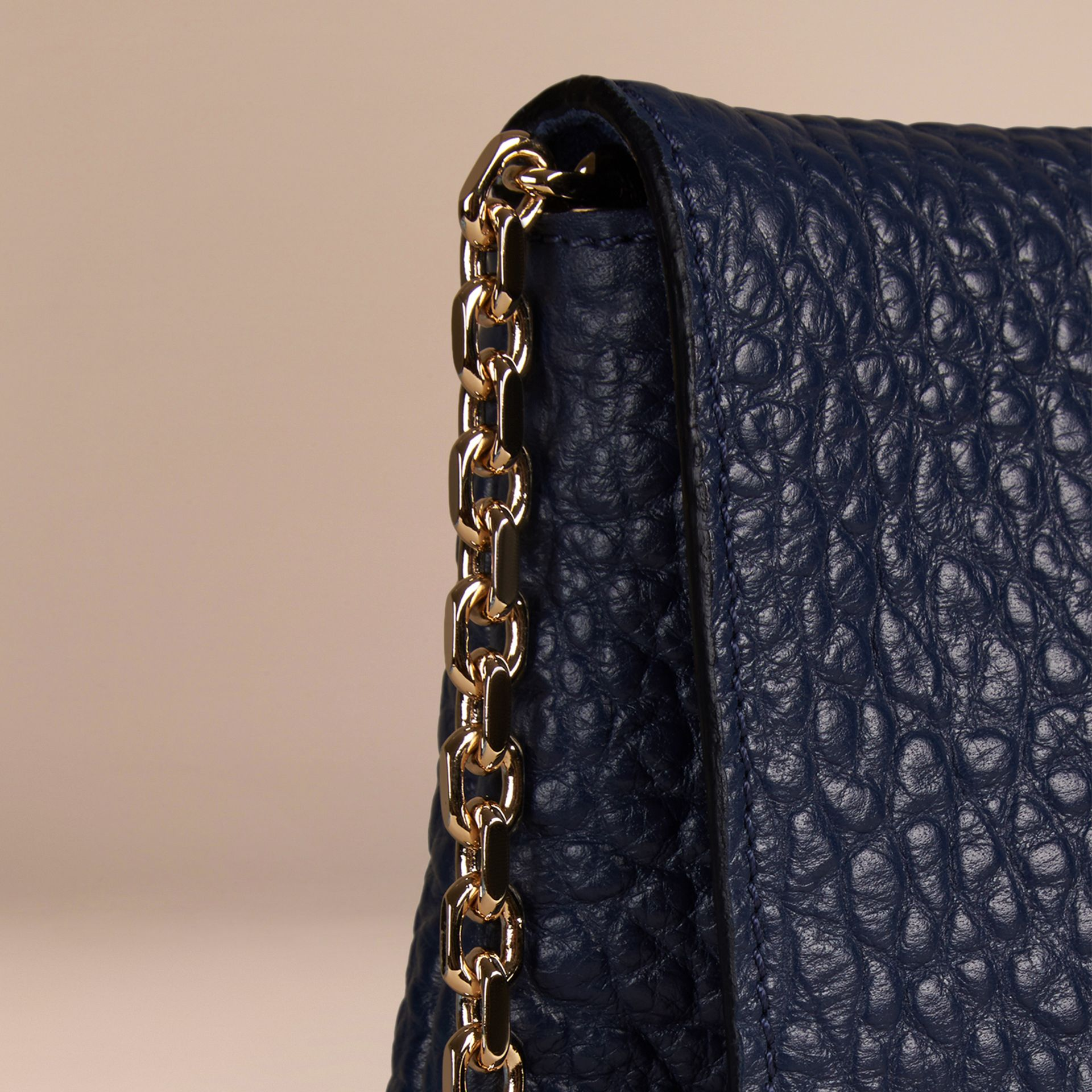 Blue carbon Medium Signature Grain Leather Clutch Bag Blue Carbon - gallery image 6