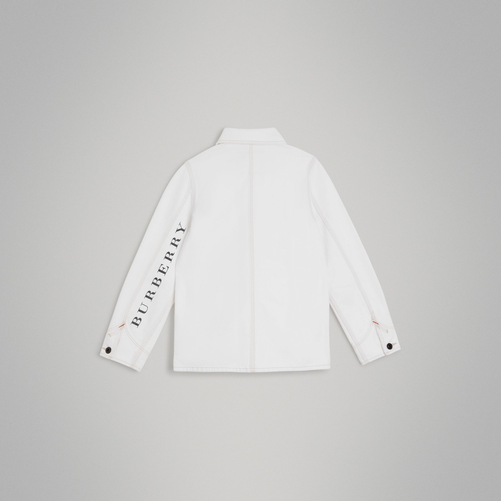 Topstitched Denim Jacket in Natural White | Burberry United Kingdom - gallery image 3