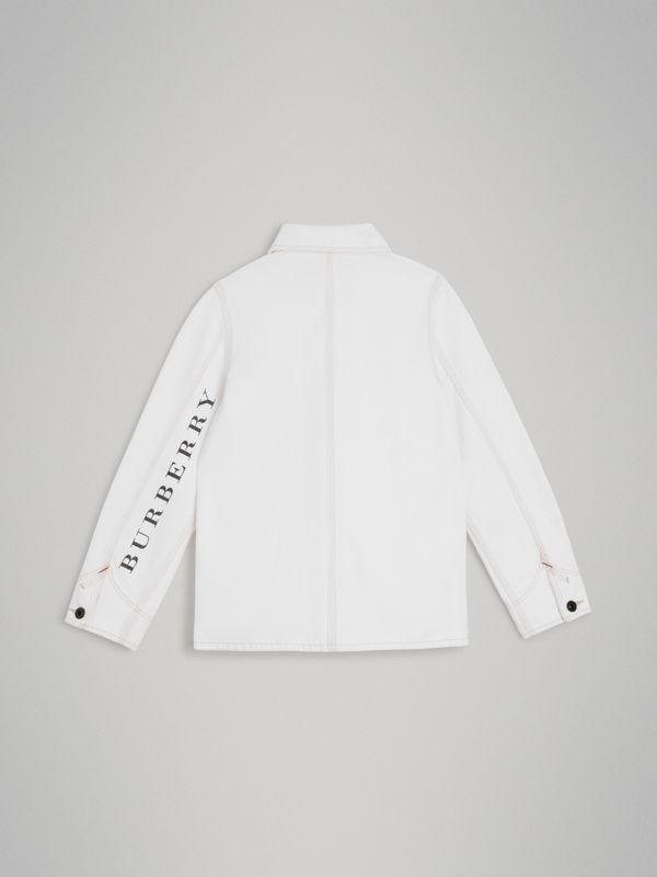 Topstitched Denim Jacket in Natural White | Burberry - cell image 3