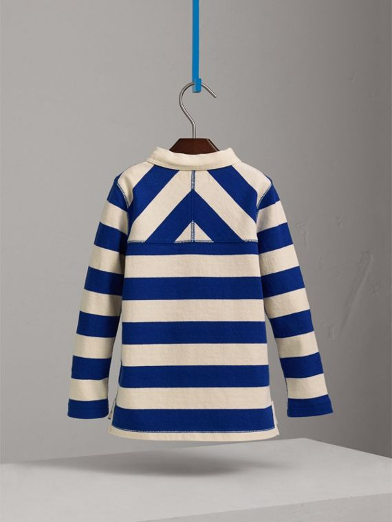London Icons Motif Cotton Rugby Shirt in Cobalt Blue/natural White - Boy | Burberry - cell image 3
