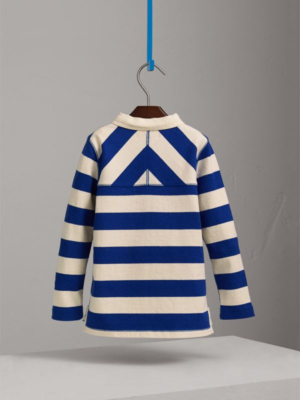 London Icons Motif Cotton Rugby Shirt in Cobalt Blue/natural White | Burberry United Kingdom - cell image 3