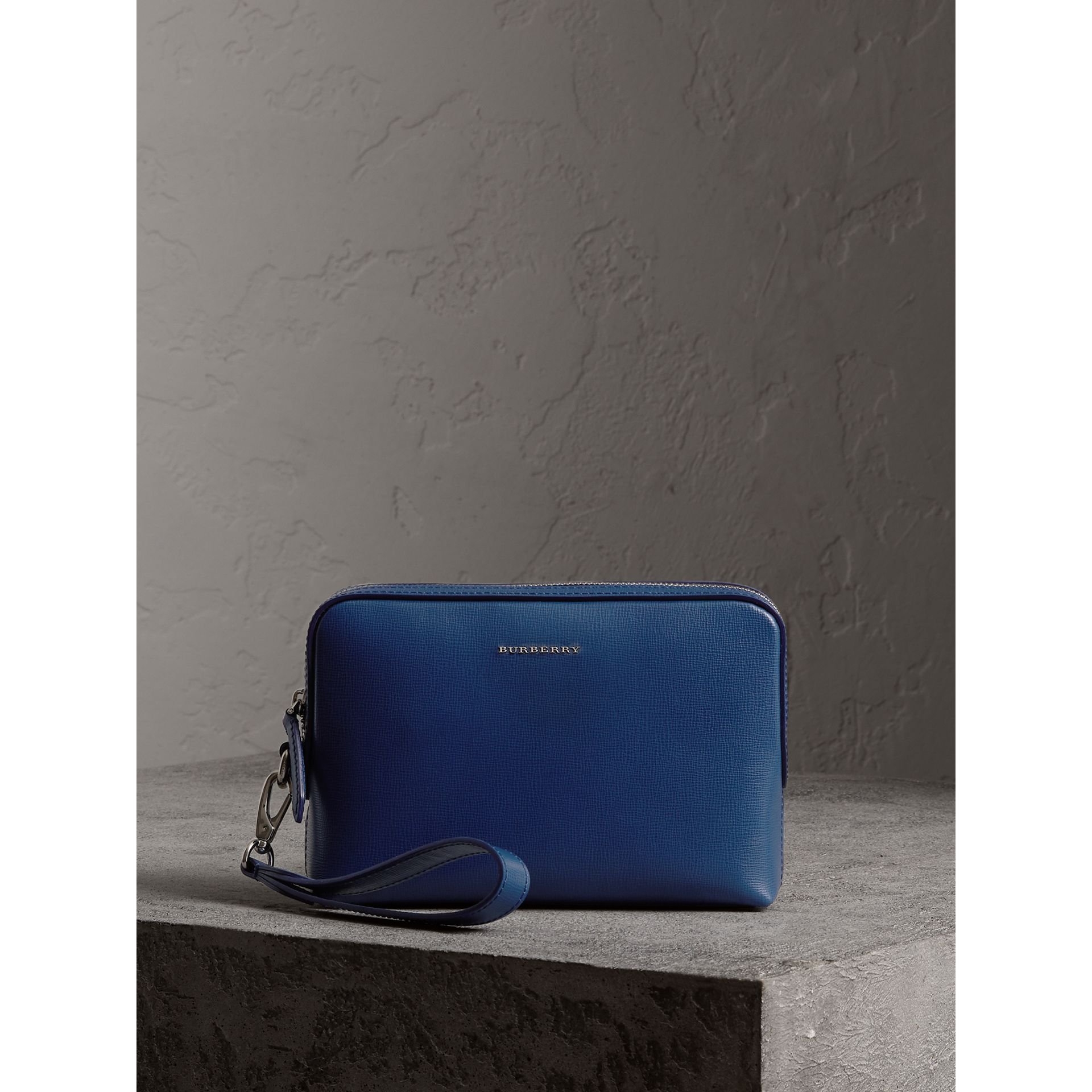 London Leather Pouch in Deep Blue - Men | Burberry - gallery image 1