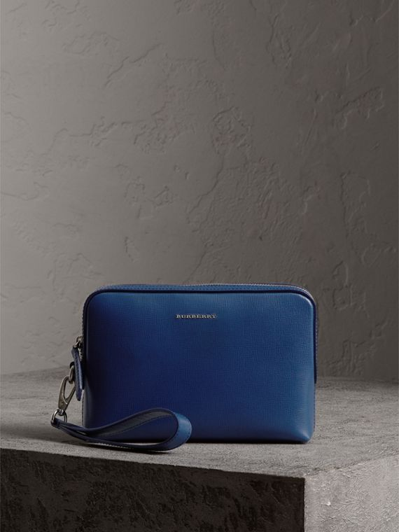 Pochette in pelle London (Blu Bruno)