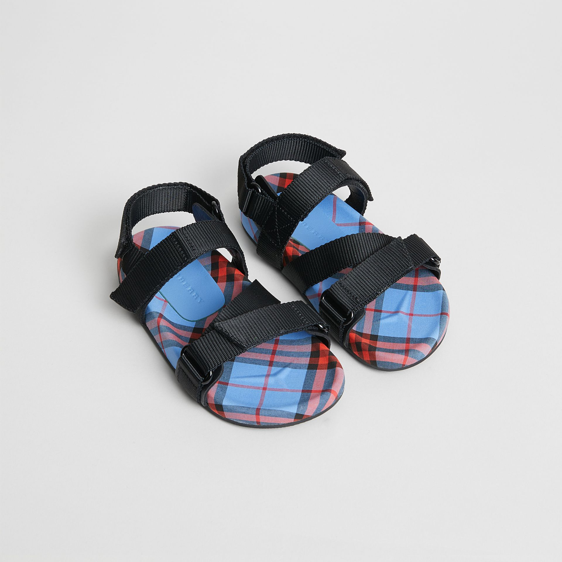 Ripstop Strap Check Cotton Sandals in Cornflower Blue | Burberry - gallery image 0