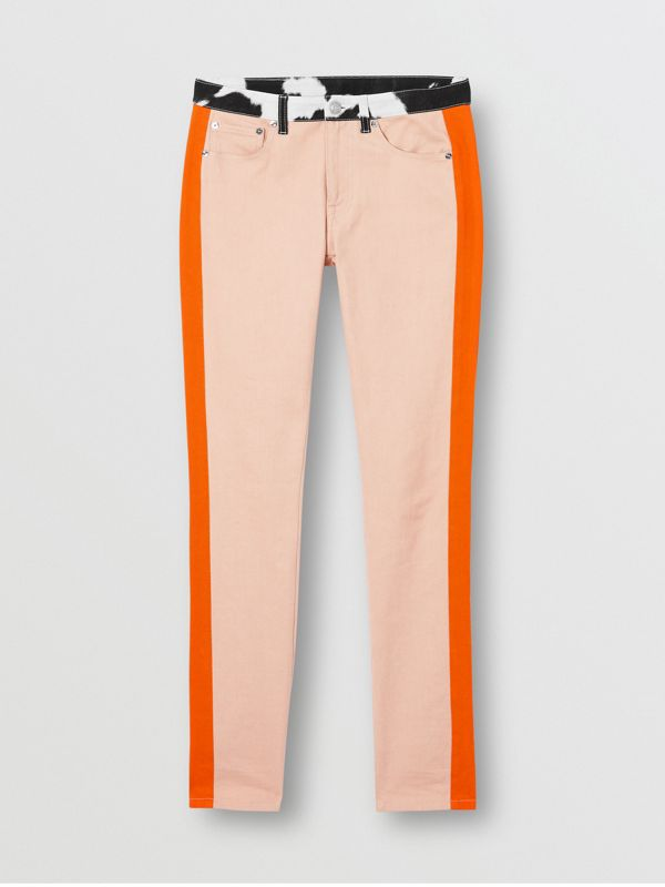 Straight Fit Cow Print Trim Japanese Denim Jeans in Pink - Women | Burberry - cell image 3