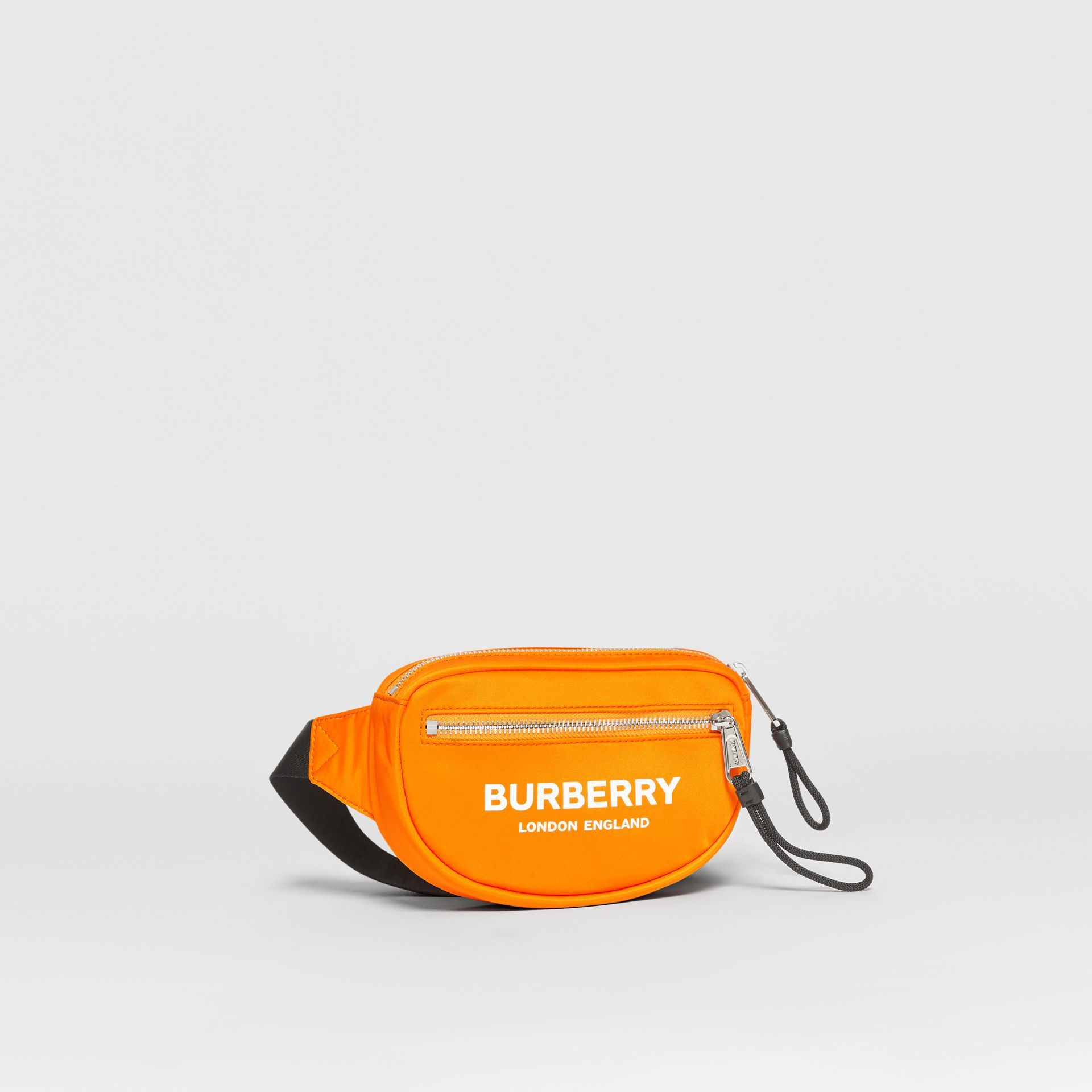 Small Logo Print ECONYL® Cannon Bum Bag in Bright Orange | Burberry - gallery image 8