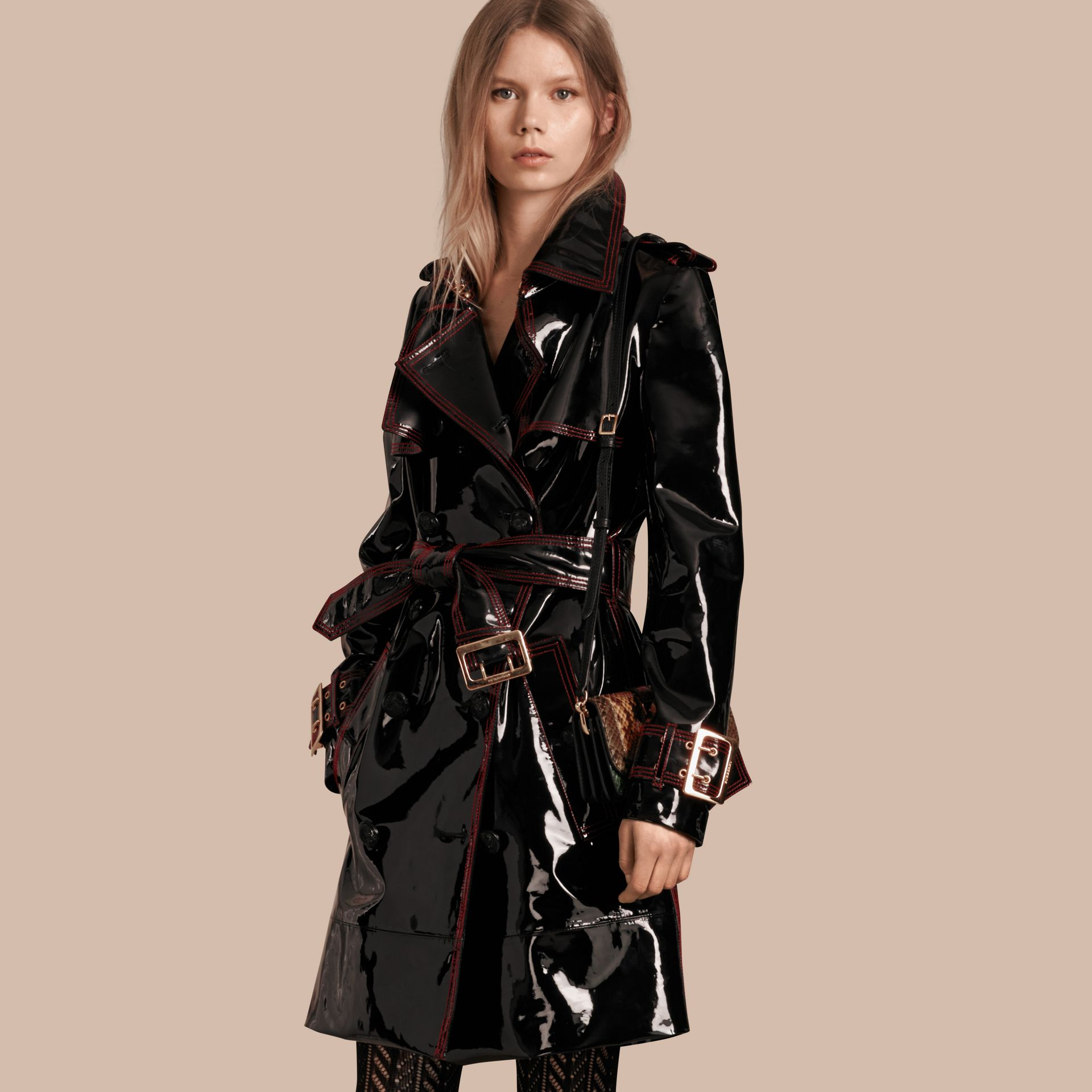 Black Unlined Patent Leather Trench Coat - gallery image 1