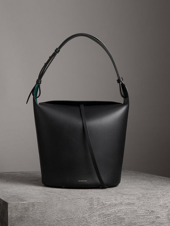Borsa Burberry Bucket grande in pelle (Nero)