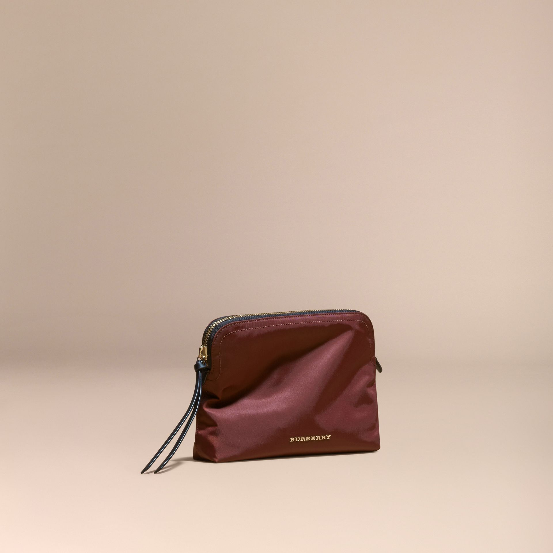 Large Zip-top Technical Nylon Pouch Burgundy Red - gallery image 1