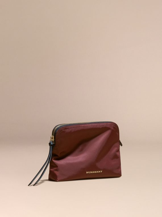 Large Zip-top Technical Nylon Pouch in Burgundy Red