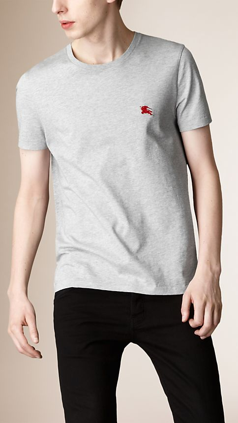 Pale grey melange Liquid Soft Cotton T-Shirt - Image 1