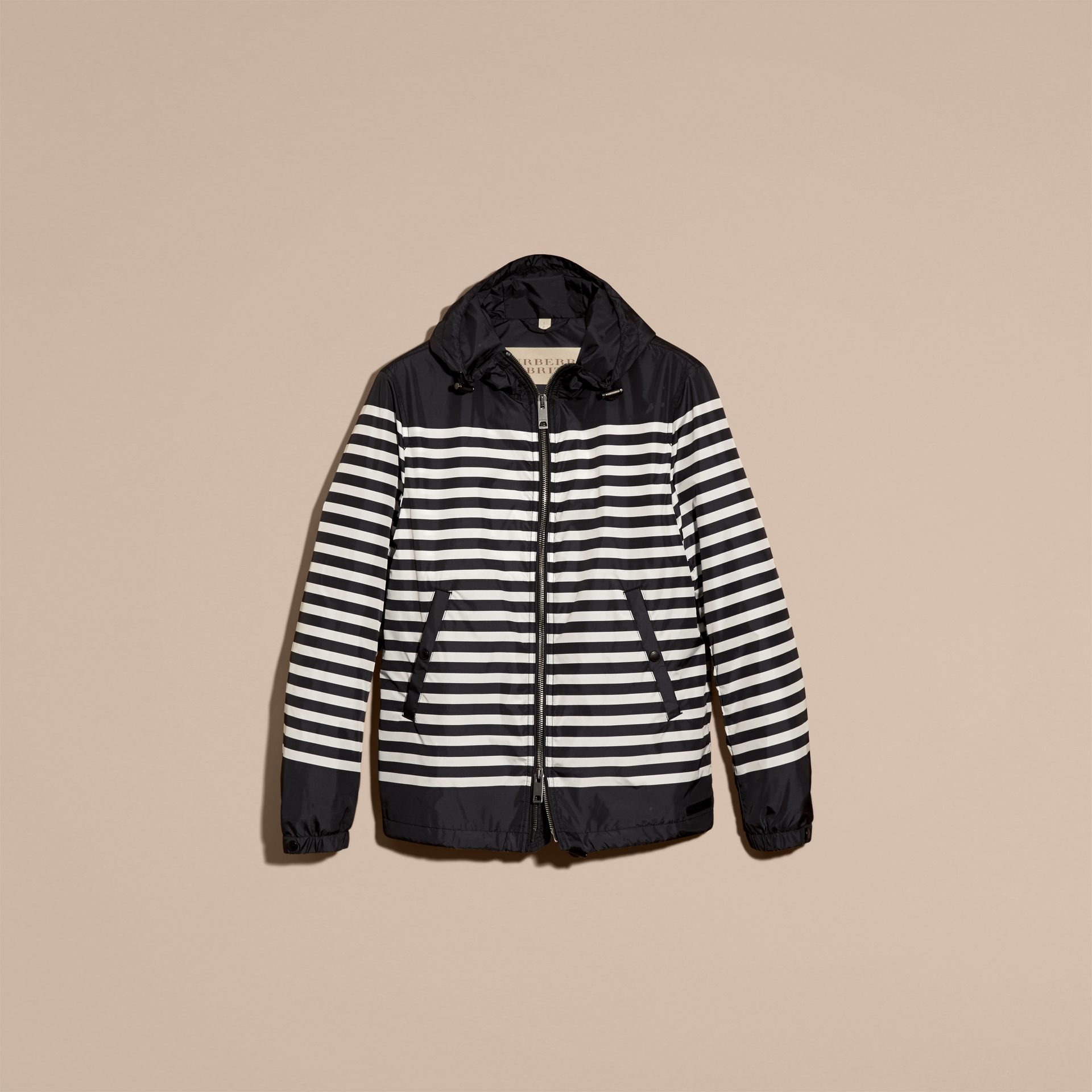 Black/white Striped Hooded Jacket - gallery image 3