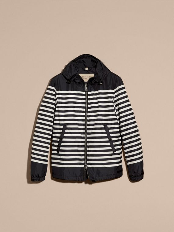 Black/white Striped Hooded Jacket - cell image 2