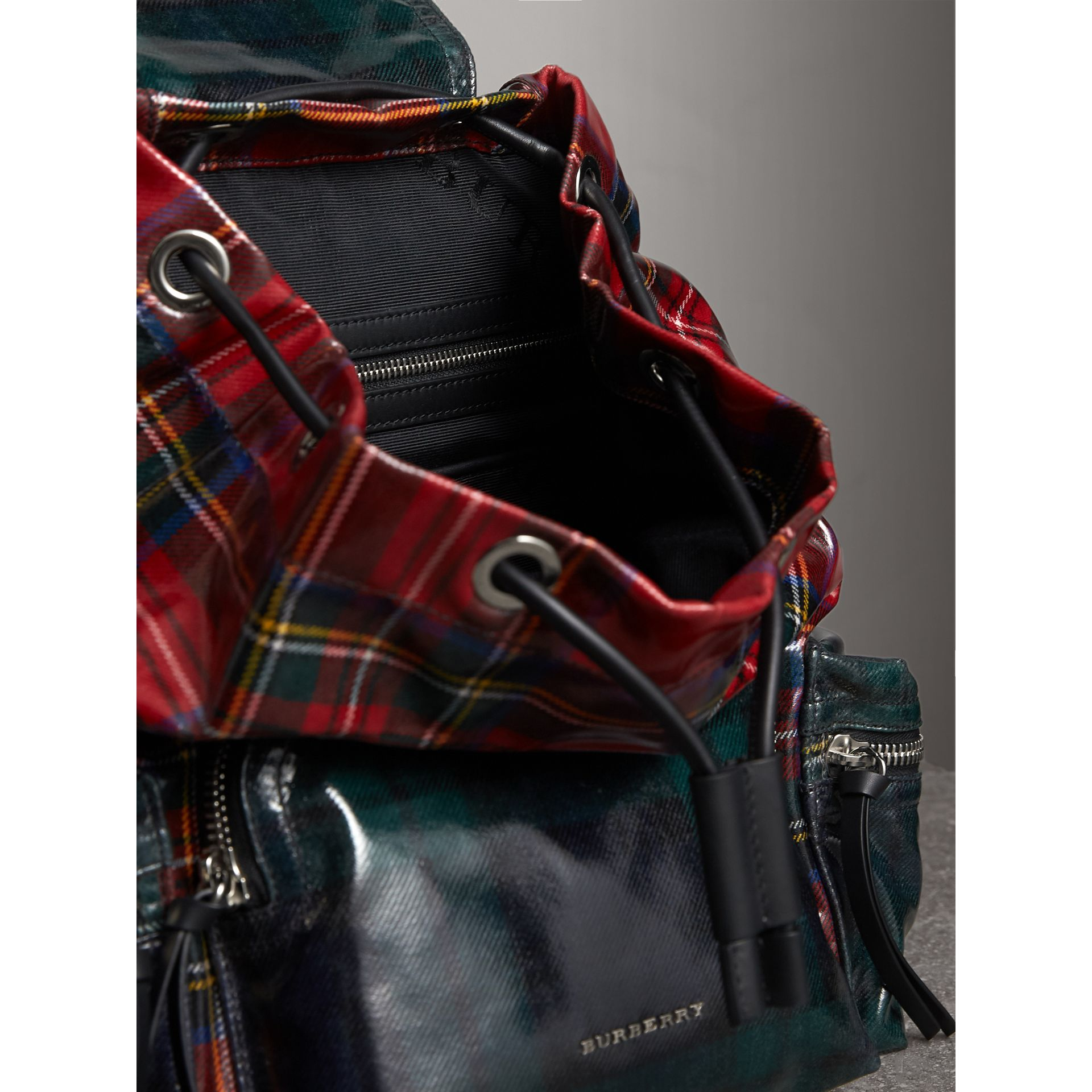 The Medium Rucksack in Laminated Tartan in Military Red | Burberry United Kingdom - gallery image 4