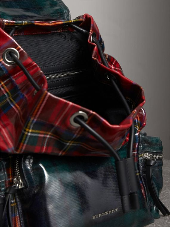 The Medium Rucksack in Laminated Tartan in Military Red | Burberry United Kingdom - cell image 3