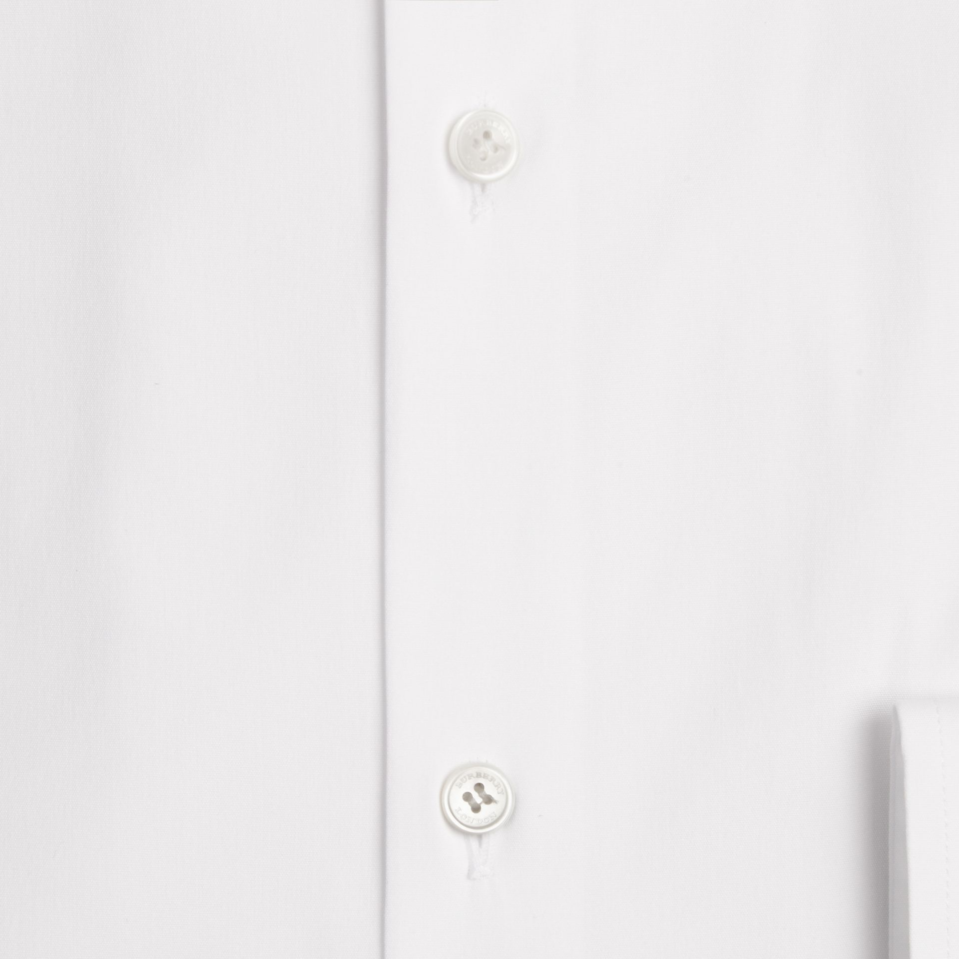 White Modern Fit Stretch Cotton Shirt White - gallery image 2