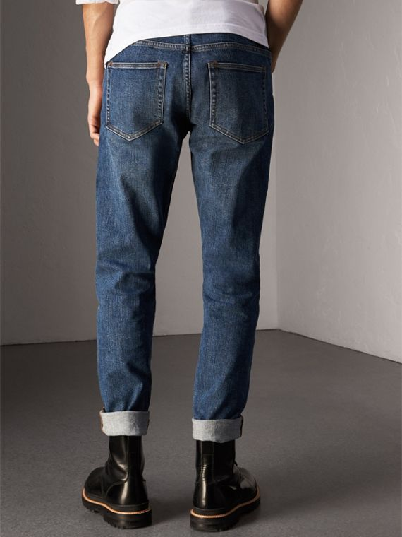 Relaxed Fit Japanese Stretch Denim Jeans in Mid Indigo - Men | Burberry - cell image 2