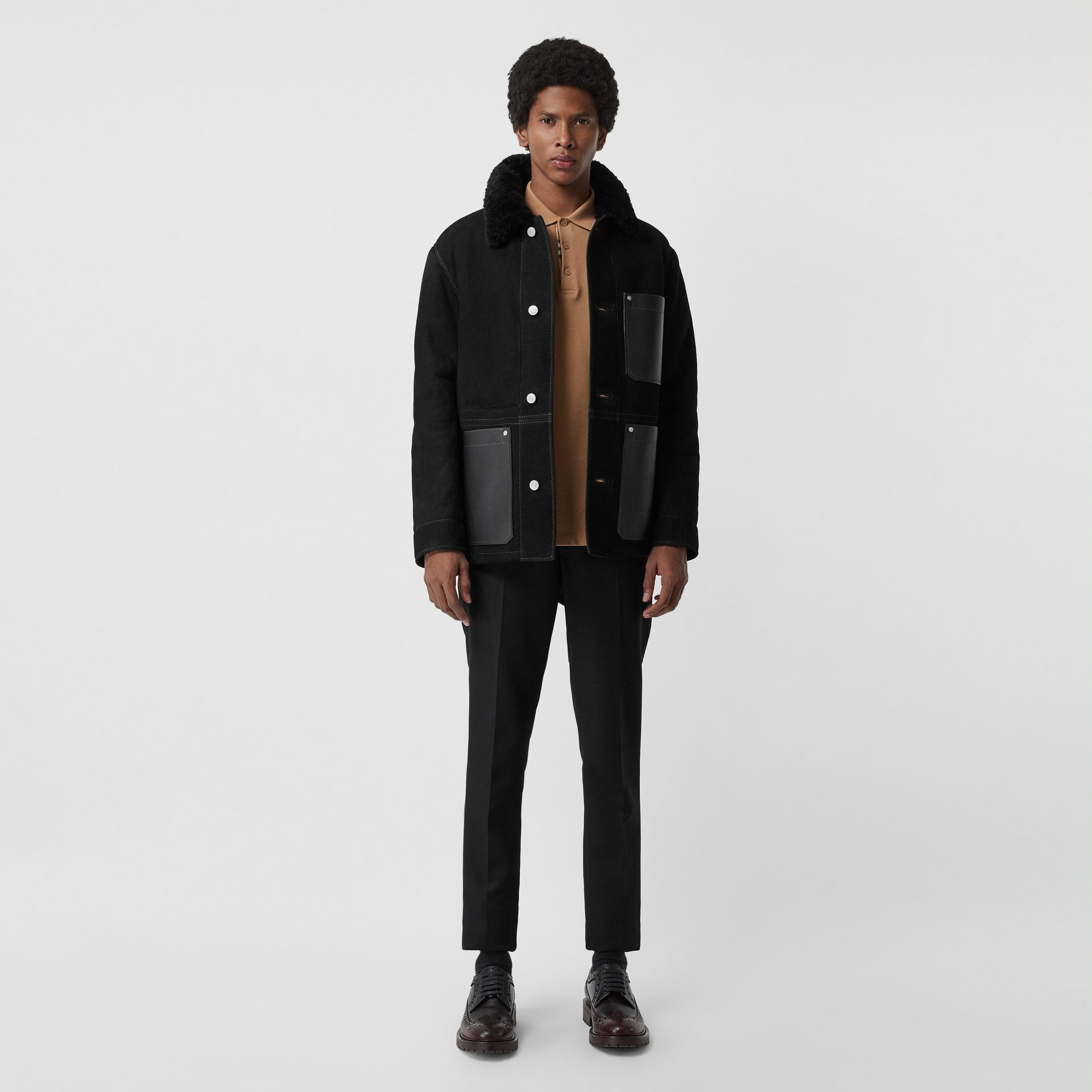 Leather Detail Shearling Workwear Jacket in Black - Men | Burberry Australia - gallery image 0