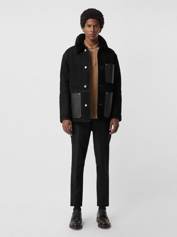 Leather Detail Shearling Workwear Jacket in Black