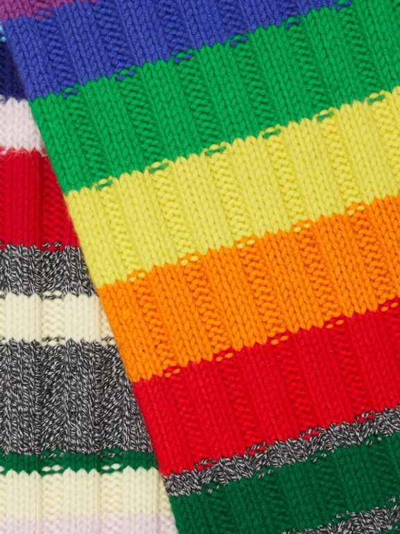 Striped Chunky Knit Cashmere Wool Blend Scarf in Multicolour | Burberry - cell image 1