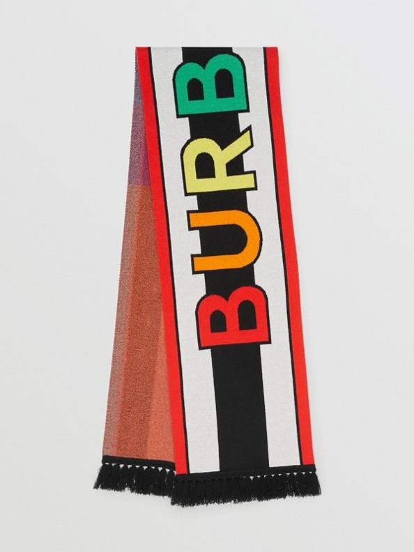 Logo Cashmere Jacquard Scarf in Multicolour