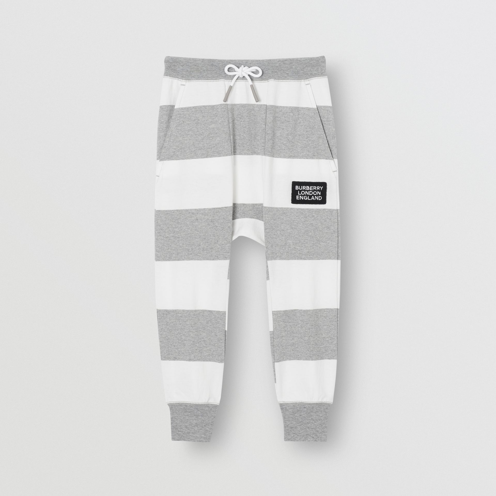 Striped Cotton Trackpants in Grey Melange | Burberry - gallery image 0