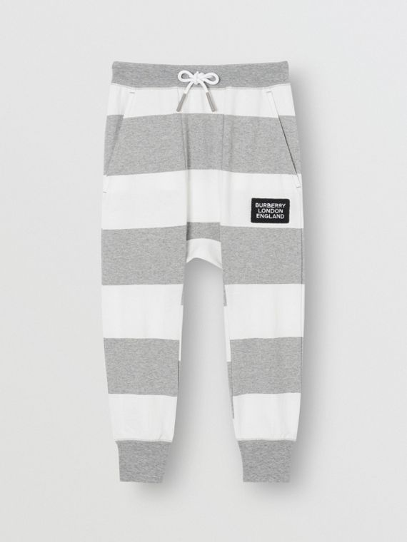 Striped Cotton Trackpants in Grey Melange