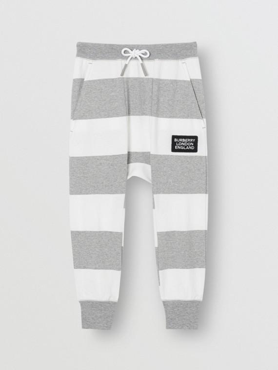 Pantalones deportivos en algodón a rayas (Mezcla De Gris)