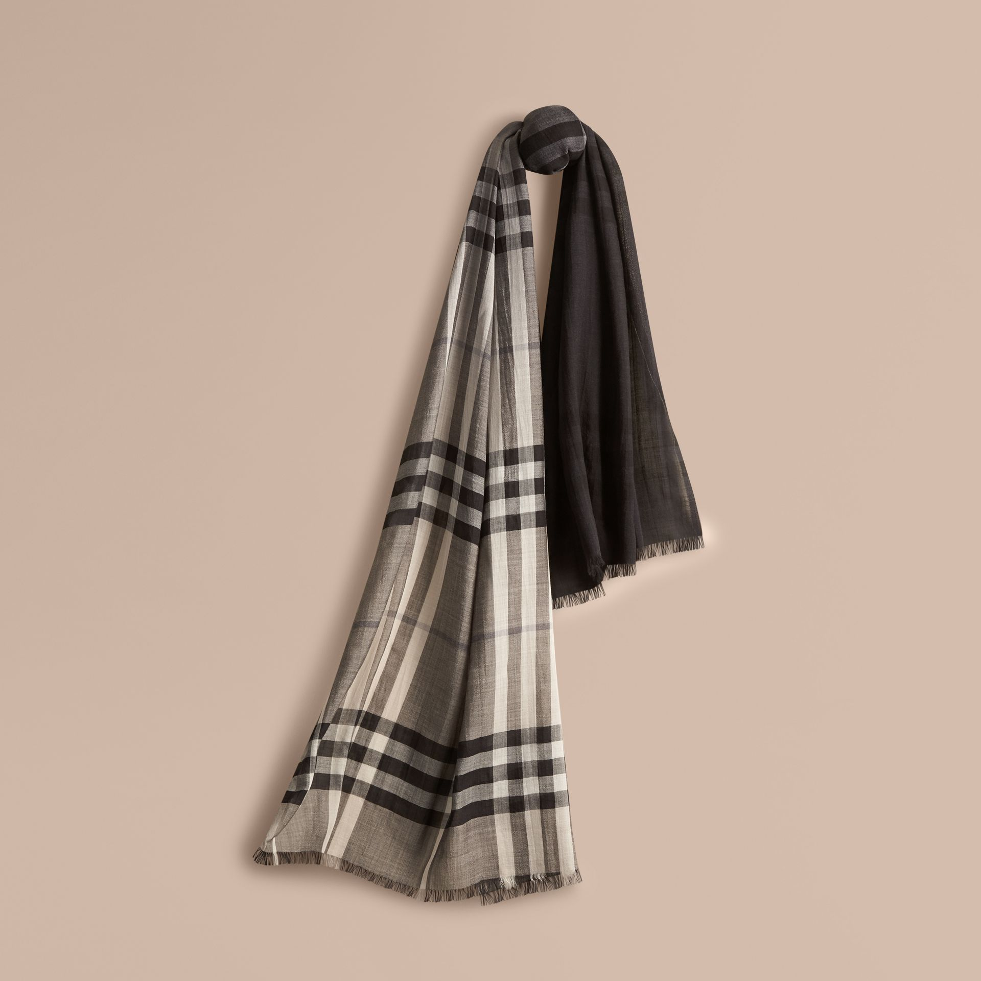 Charcoal check Ombré Check Lightweight Wool Silk Scarf Charcoal - gallery image 1