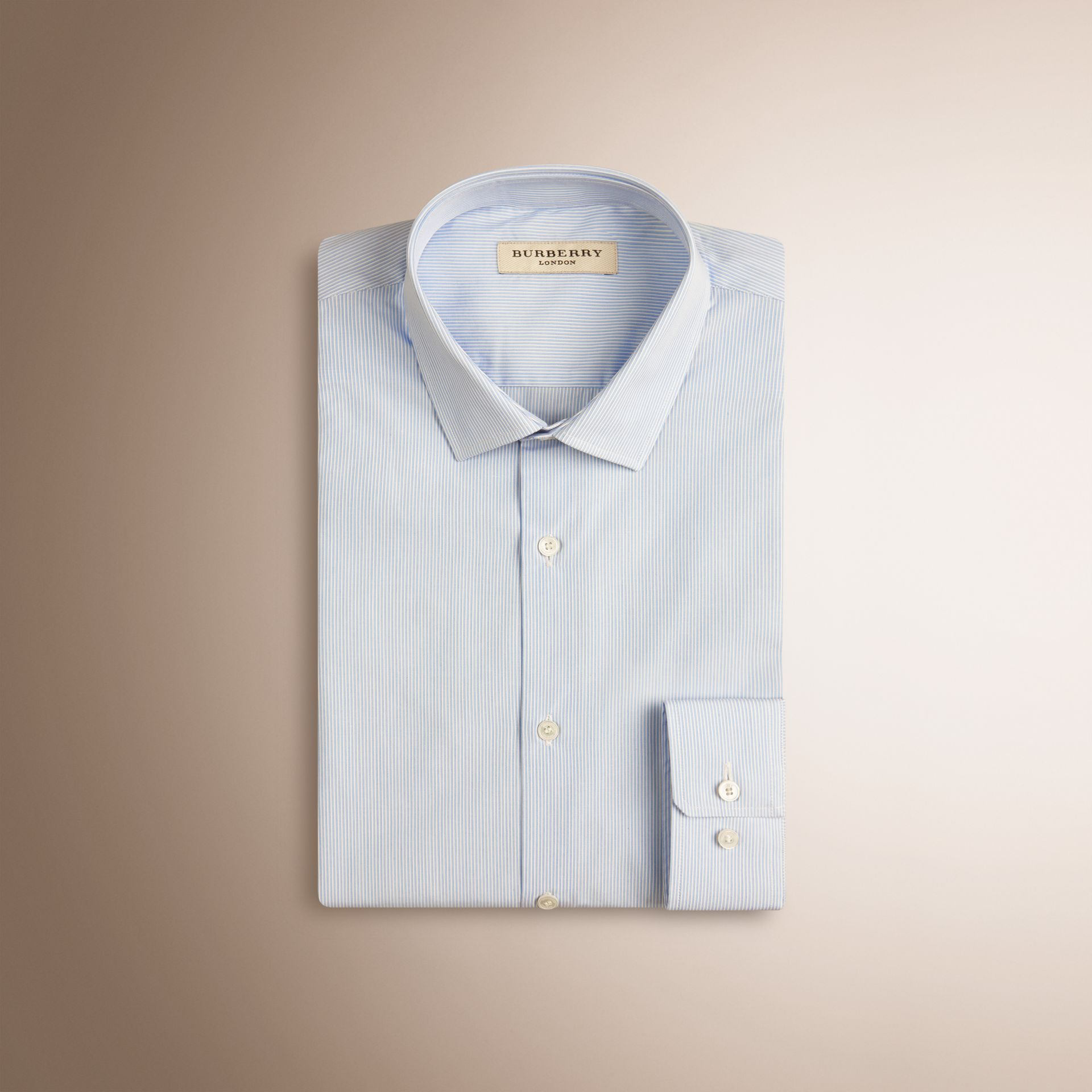 Slim Fit Striped Cotton Poplin Shirt in City Blue - gallery image 4