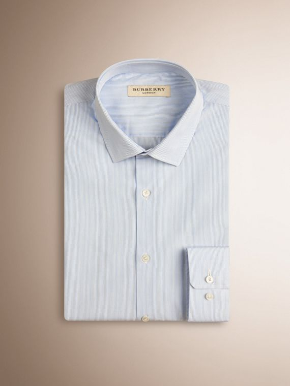 Slim Fit Striped Cotton Poplin Shirt in City Blue - cell image 3