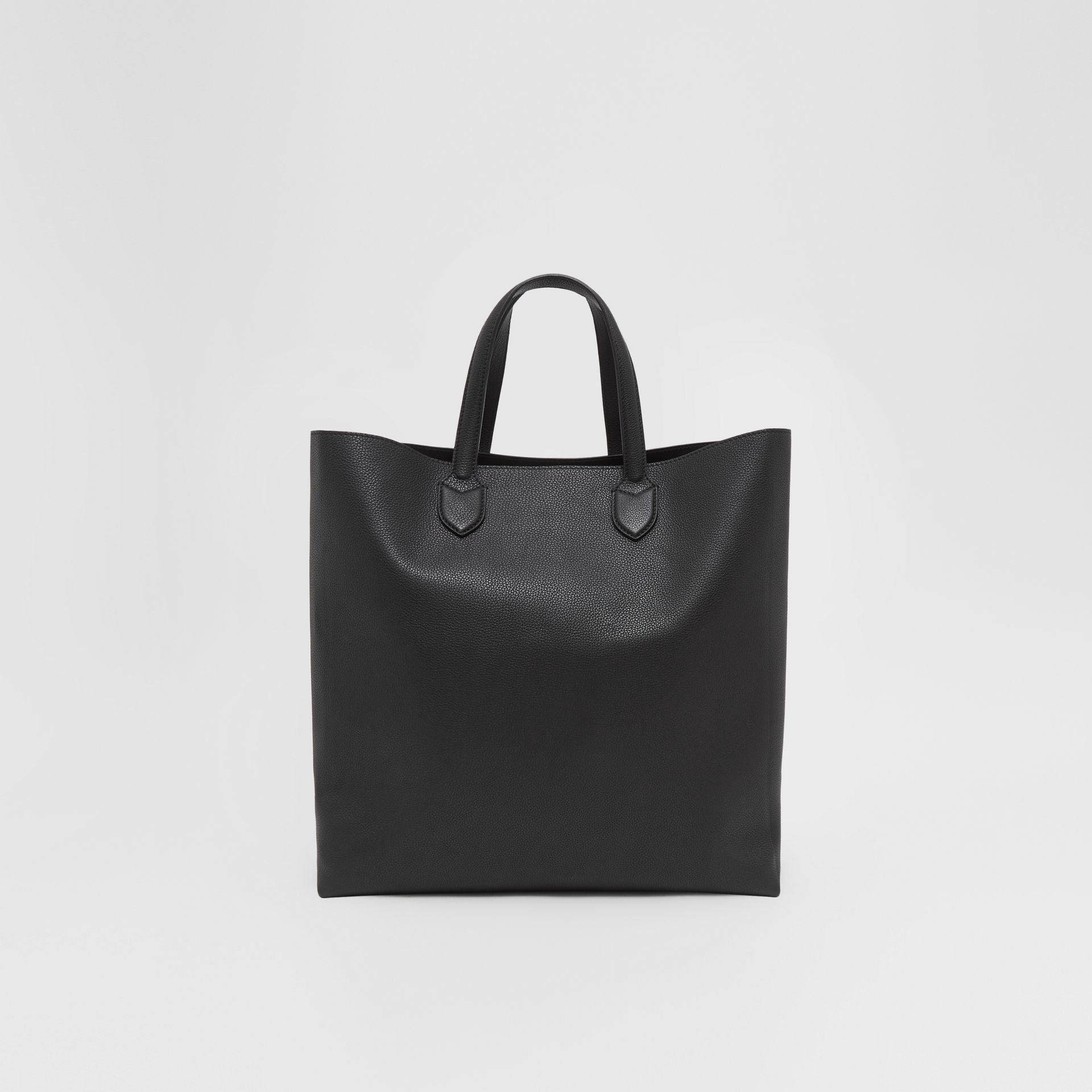Large Logo Graphic Grainy Leather Tote in Black - Men | Burberry - gallery image 9