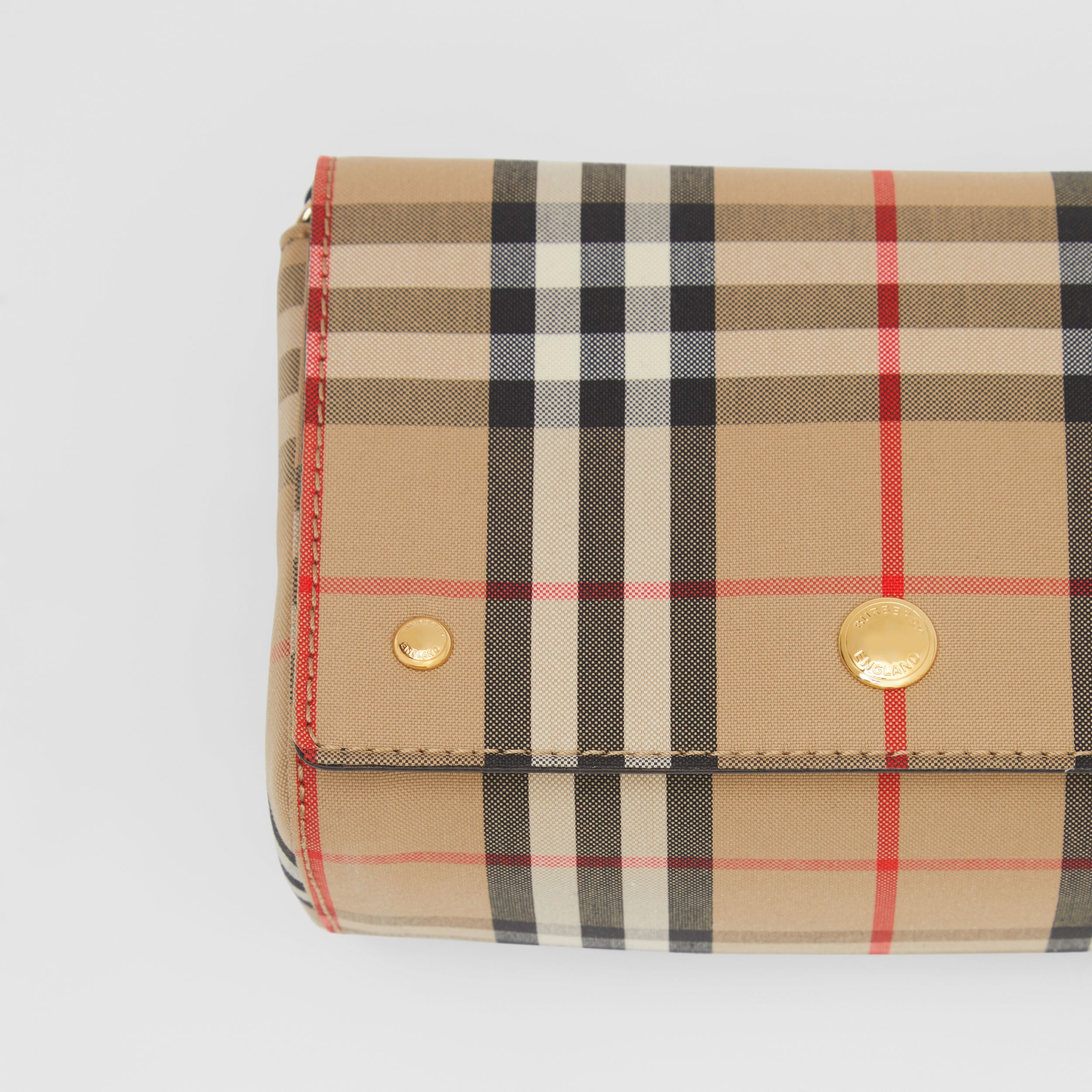 Small Vintage Check and Leather Crossbody Bag in Archive Beige - Women | Burberry - 2