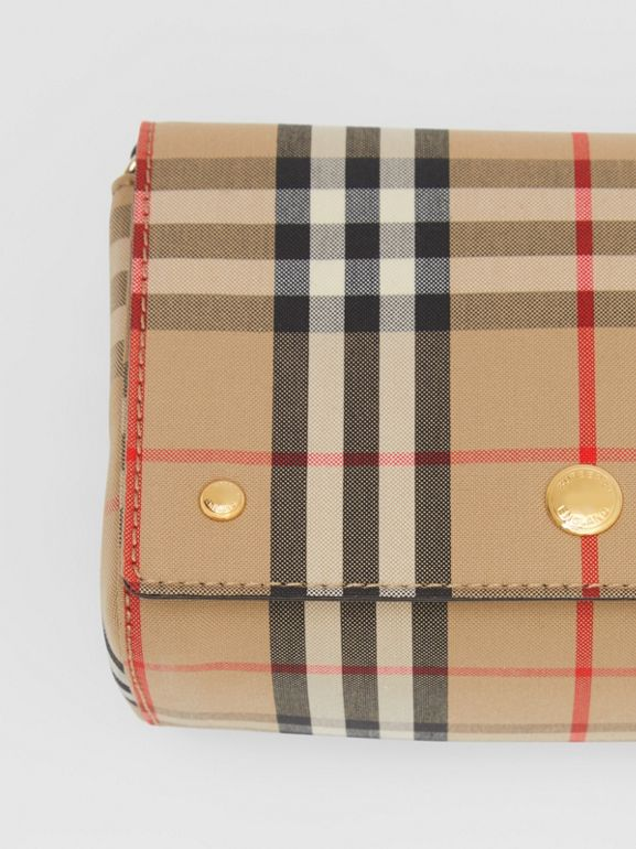 Small Vintage Check and Leather Crossbody Bag in Archive Beige - Women | Burberry - cell image 1