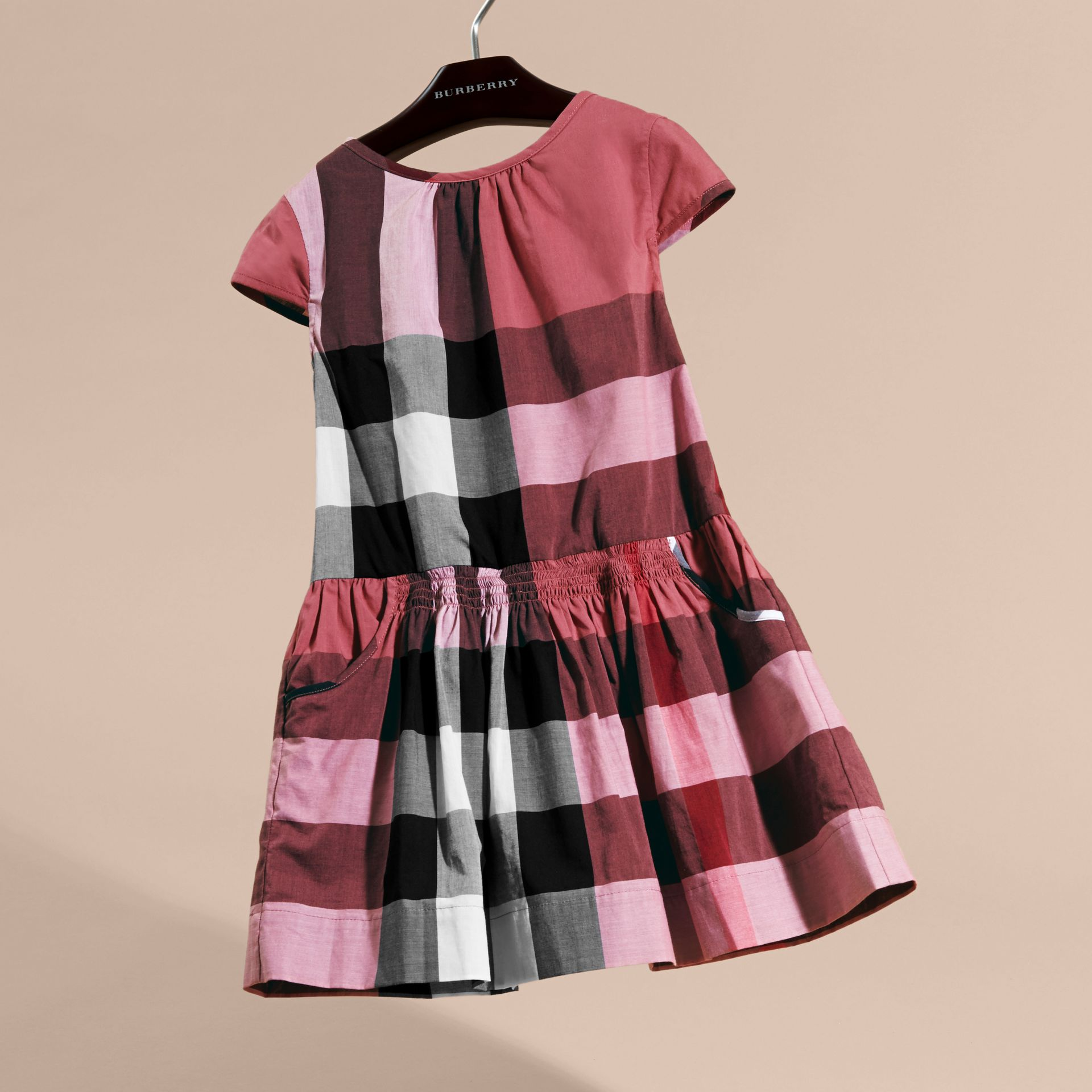 Cap-sleeved Check Cotton Voile Dress in Pink Azalea - gallery image 3