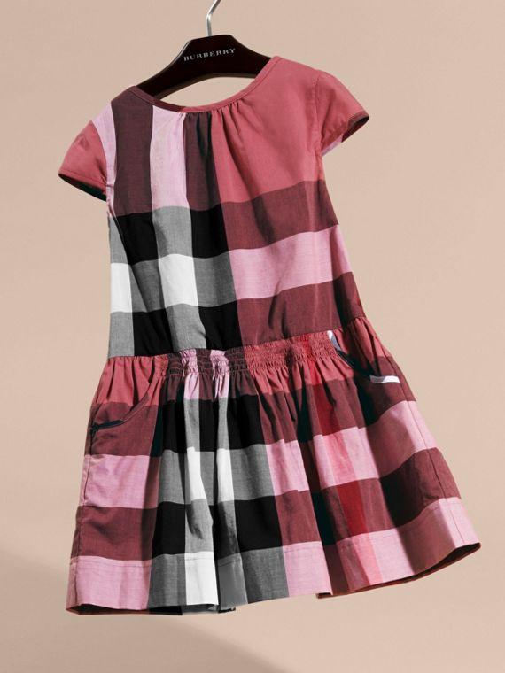 Cap-sleeved Check Cotton Voile Dress in Pink Azalea - cell image 2