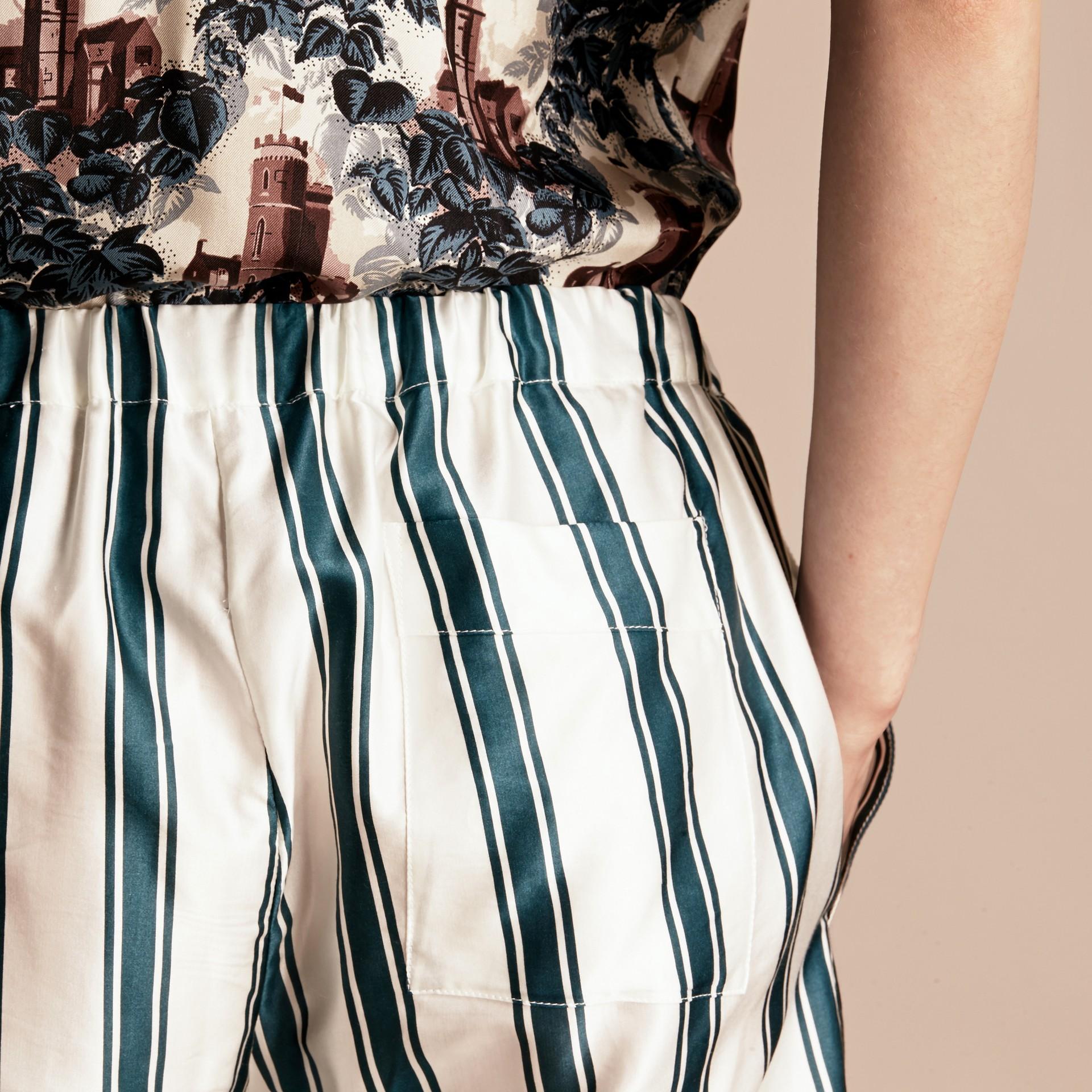 Panama Stripe Cotton Silk Pyjama-style Trousers - gallery image 5