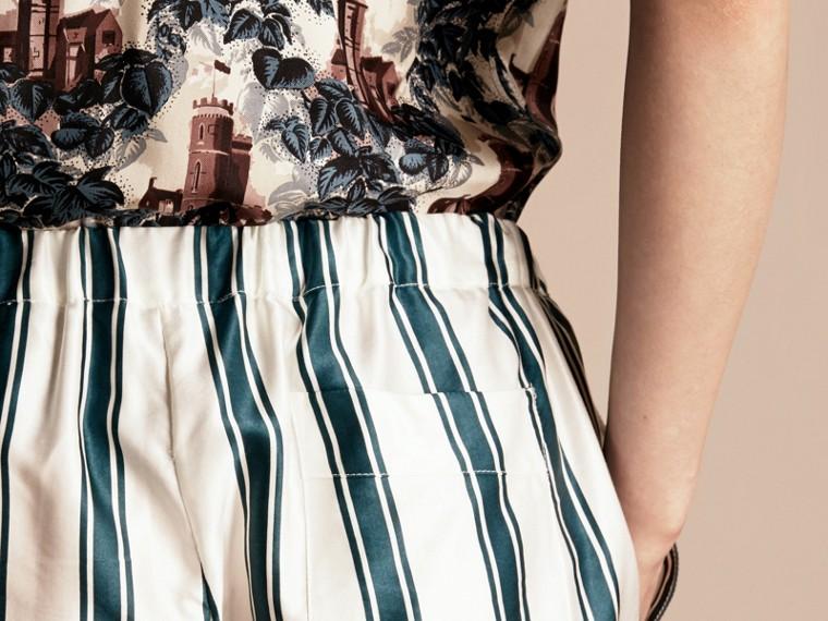 Panama Stripe Cotton Silk Pyjama-style Trousers - cell image 4