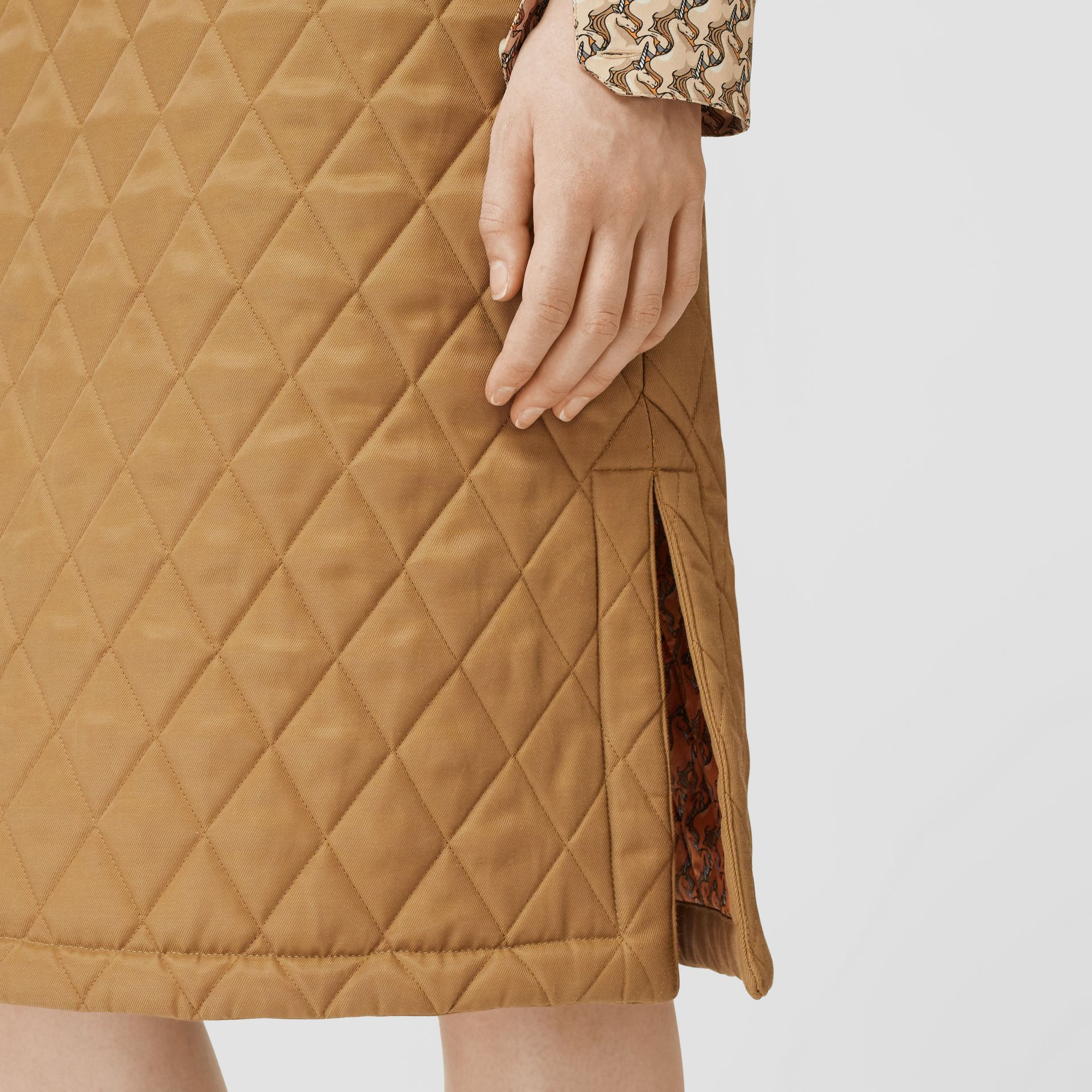 Diamond Quilted Twill A-line Skirt in Camel | Burberry United Kingdom - gallery image 1