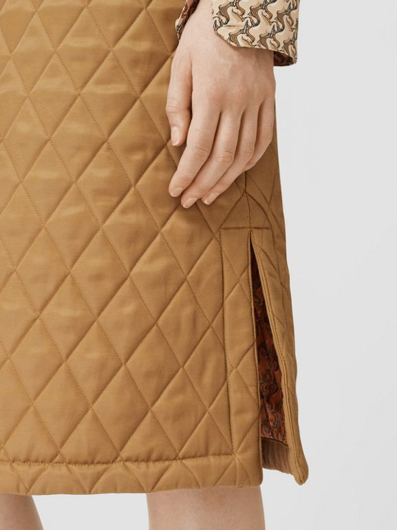 Diamond Quilted Twill A-line Skirt in Camel | Burberry United Kingdom - cell image 1