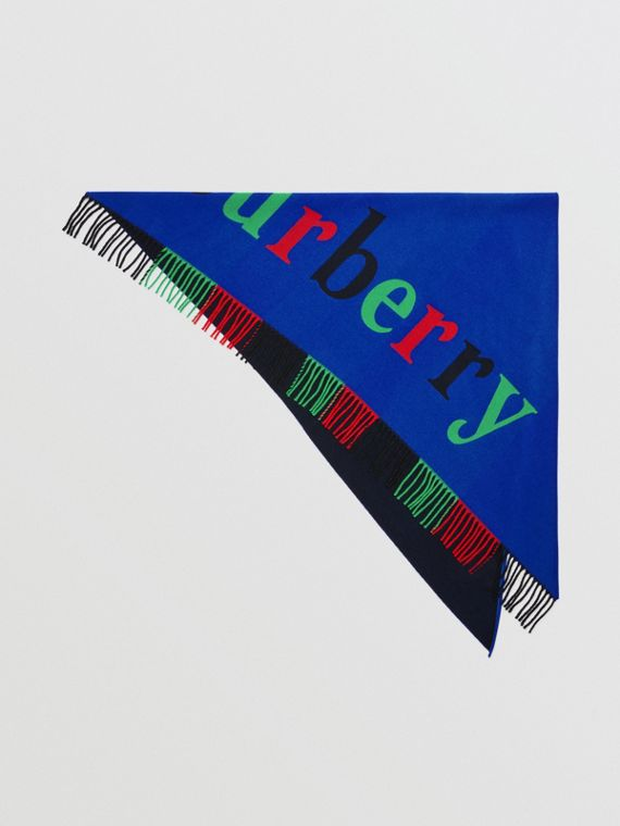 The Burberry Bandana in Logo Detail Wool Cashmere in Navy