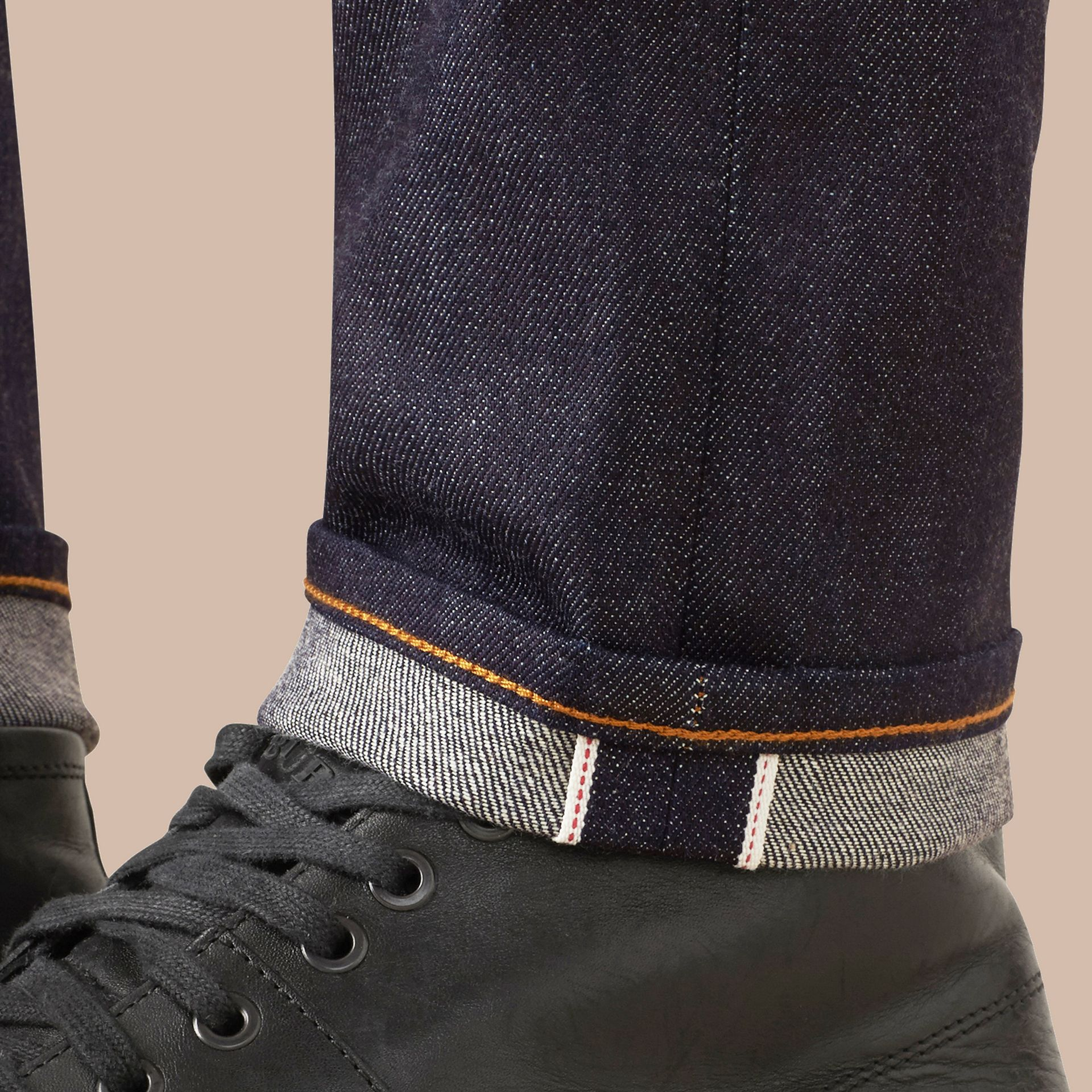 Dark indigo Slim Fit Stretch Japanese Selvedge Jeans - gallery image 4