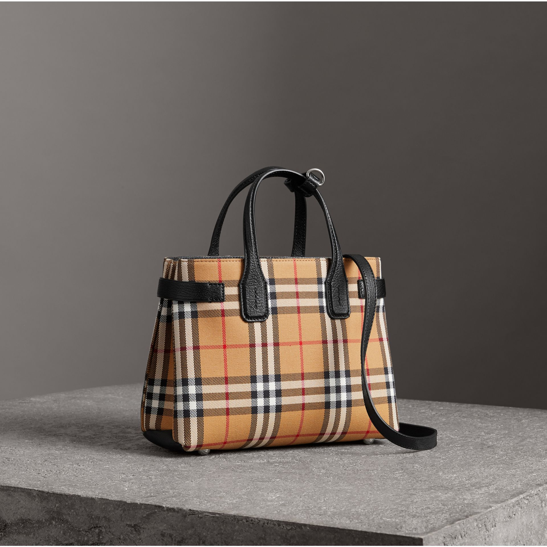 The Small Banner in Vintage Check and Leather in Black - Women | Burberry United States - gallery image 0