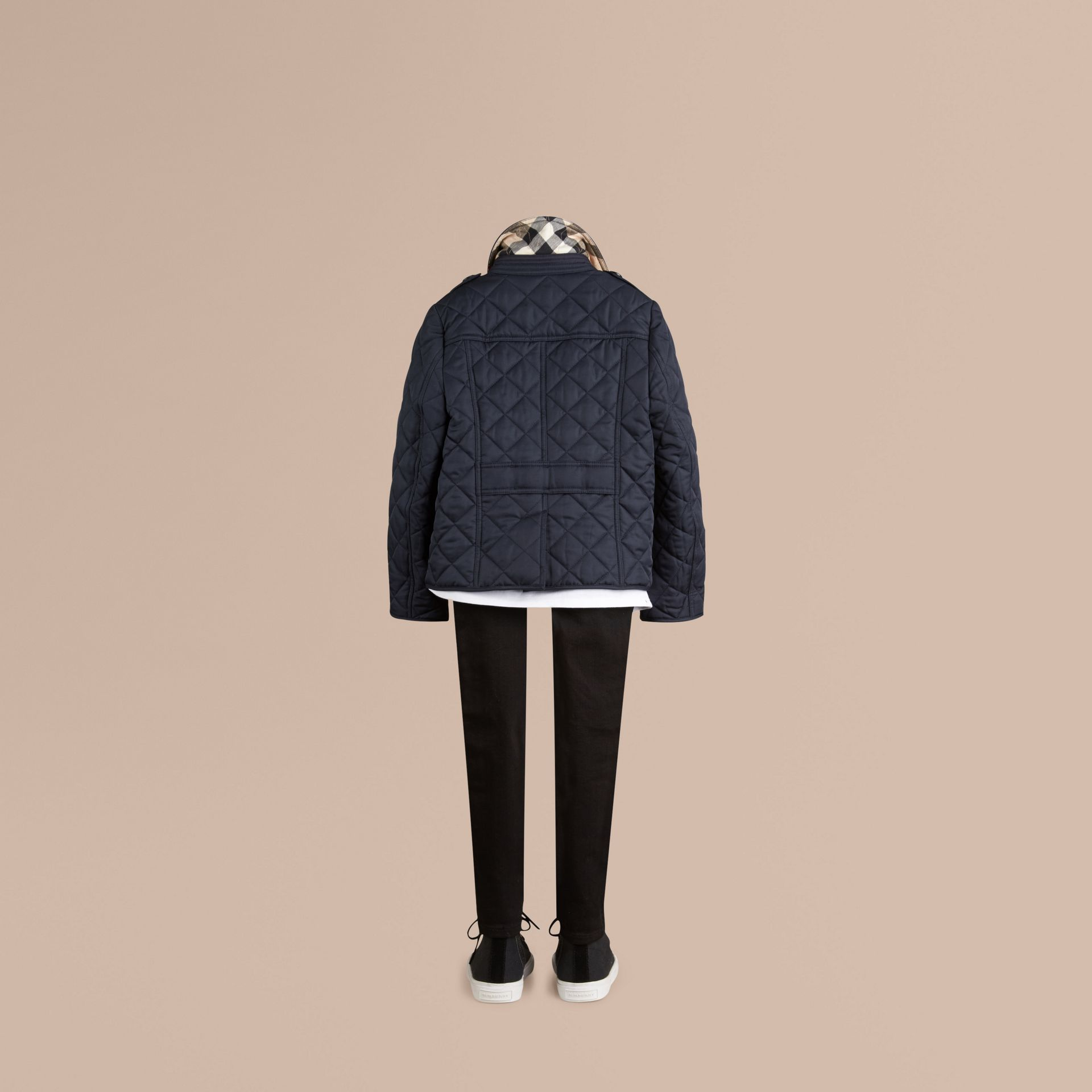 Check Lined Diamond Quilted Jacket in Navy - Girl | Burberry - gallery image 4