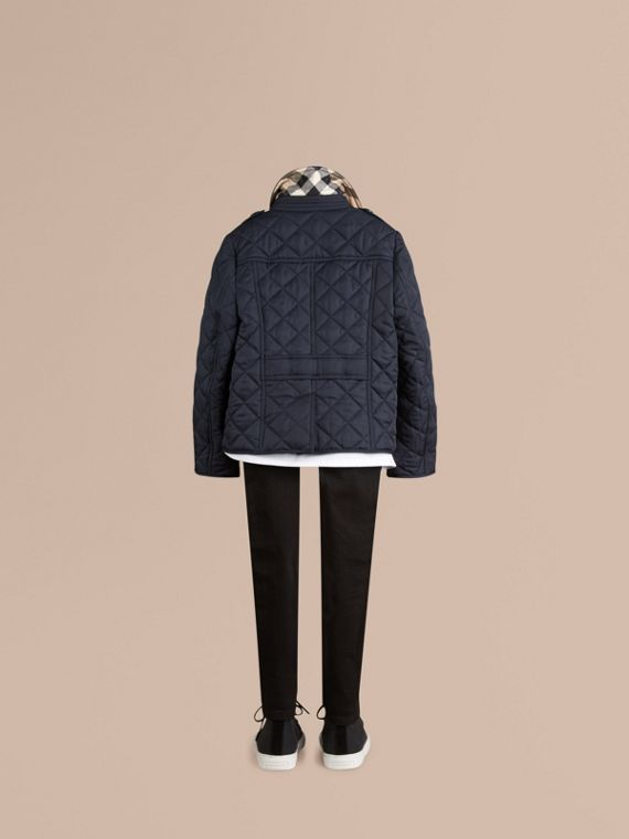 Check Lined Diamond Quilted Jacket in Navy - cell image 3