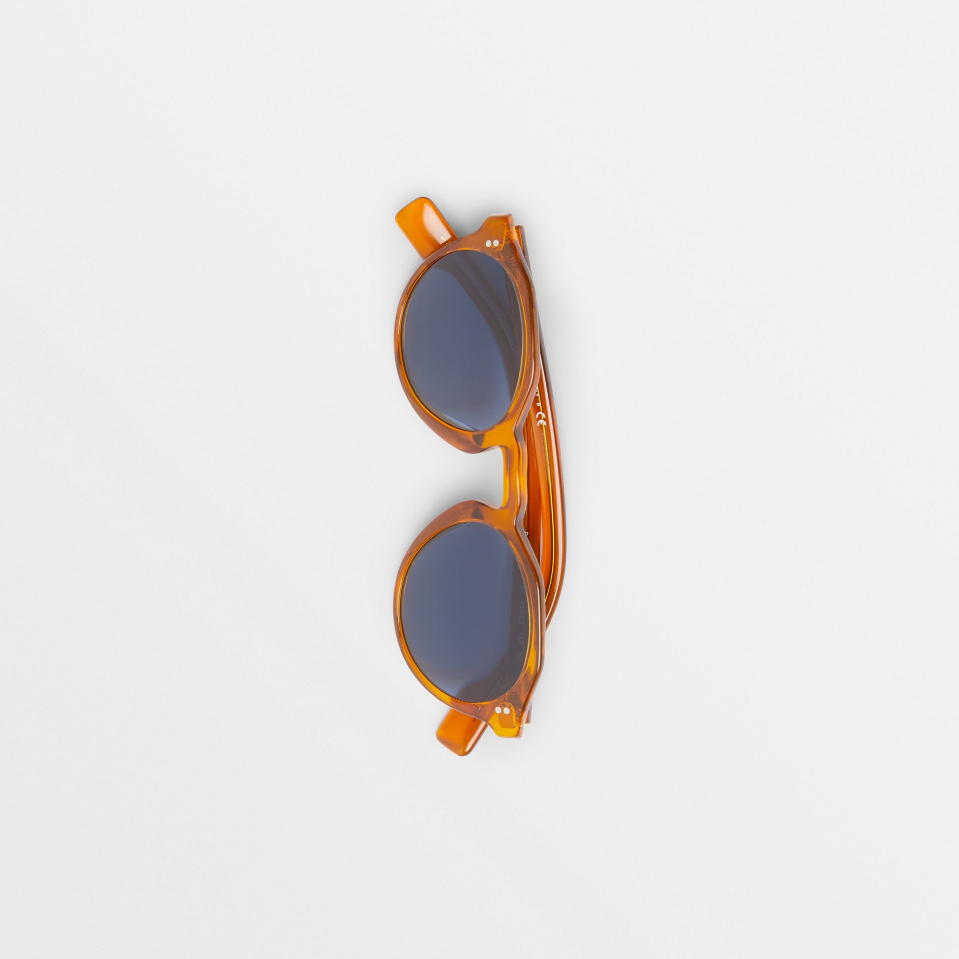 Keyhole Round Frame Sunglasses in Orange - Men | Burberry - gallery image 3