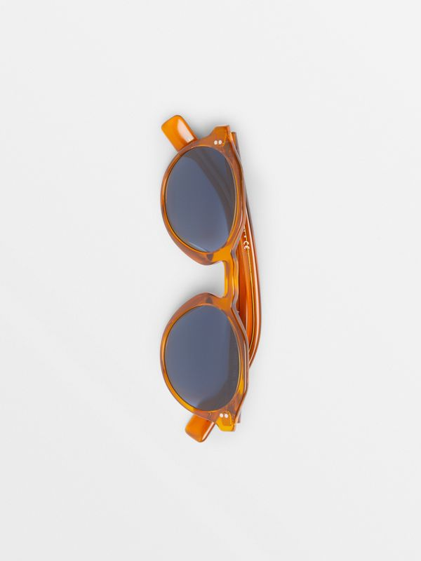Keyhole Round Frame Sunglasses in Orange - Men | Burberry - cell image 3