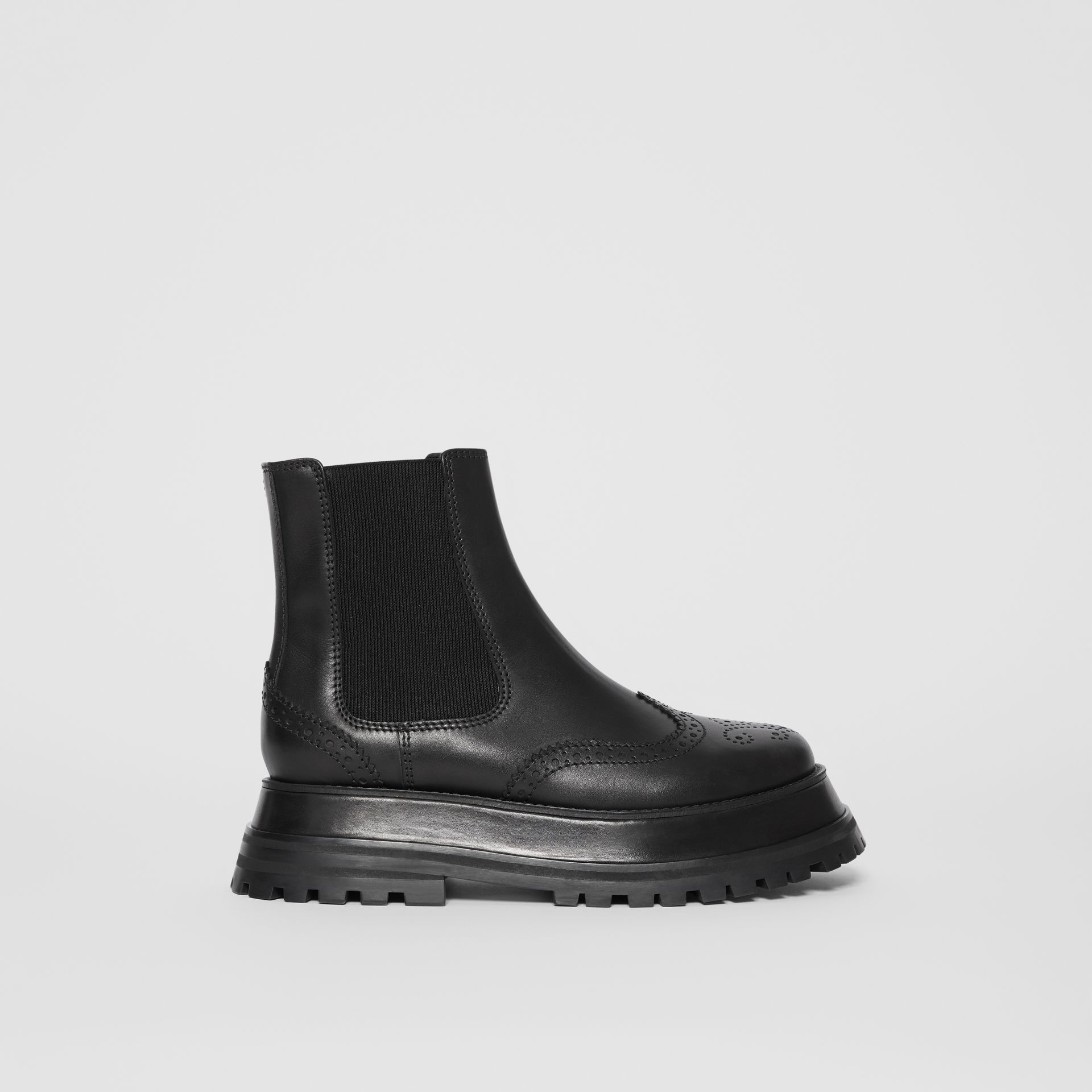Brogue Detail Leather Chelsea Boots in Black - Women | Burberry Singapore - gallery image 5